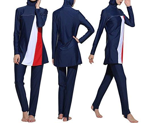 Konservative Muslim Bademode islamischen Badeanzug für Frauen Hijab Badebekleidung Full Deckung Bademode Muslim Schwimmen Beachwear Badeanzug, damen, marineblau