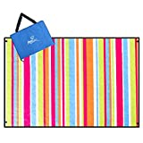 Aoosborts Stripe Picnic Blanket Water Resistant, Beach Blanket Sand Proof, Wind Proof with Stakes,Machine Washable Outdoor Blanket Mat