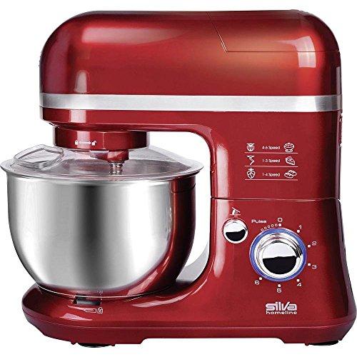 Silva-Homeline KM 6500 Küchenmaschine mit Mixaufsatz, 6 Leistungsstufen, rot