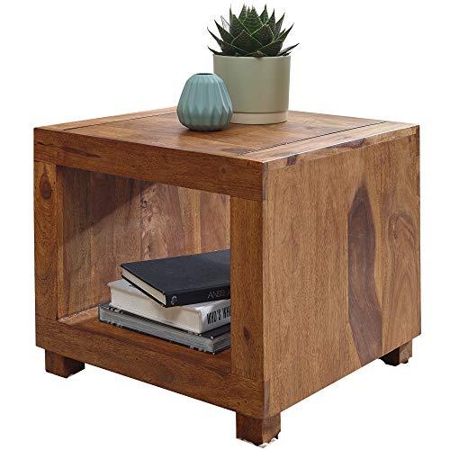 FineBuy Sheesham Massiv-Holz Couchtisch 50 x 50 cm Wohnzimmer-Tisch Design dunkel-braun Landhaus-Stil Beistelltisch Natur-Produkt Echtholz Unikat quadratisch Wohnzimmermöbel modern Massivholzmöbel