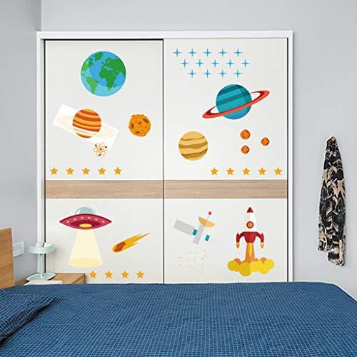 WINJIN Des Planètes dans l'espace Autocollants Muraux Mural Stickers Chambre Enfants Bébé Garderie Salon Voiture de Bande Dessinée Avion Montgolfière Stickers Muraux Pépinière Autocollants Amovibles