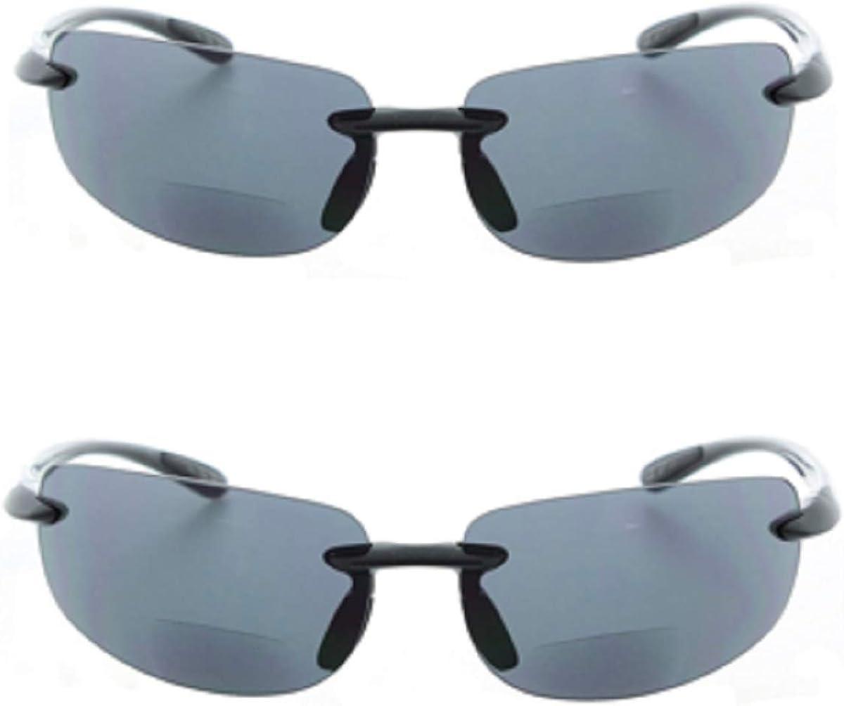 specialty shop 2 Pair Low price of Men and Women - Rimless Sunglasses Sun Readers Bifocal