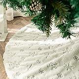 Blanca Faldas para el Árbol de Navidad con Copos de Nieve Plata, Peluche 36 Pulgadas de Piel Sintética Christmas Tree Skirt Base para Navidad Fiesta Vacaciones en casa decoración (Silver, 36 inches)