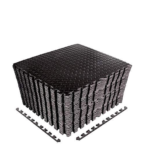 CCLIFE Tappetini a Puzzle per Pavimento,60 x 60 x 1cm, Eva Stuoia Protettiva ad Incastro per Pavimento di Palestra, Colore:Nero, 32 Pezzi