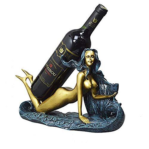 NanXi A armadietto del Vino per Le Donne, Media Storage Porta di Legno e Bottiglie di Vino a Piedi, Studio Soggiorno Decorazioni su Letterario Retro,Blu