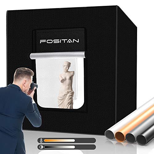 FOSITAN Fotostudio 80x80x80cm Dimmbare Bi-Color 252pcs LED Beleuchtung Fotobox 3200-5500K Lichtzelt mit 4 Hintergründe (schwarz, weiß, orange, grau) für...