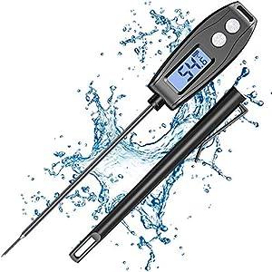 Cocoda Termometro Cocina Digital, 5.2'' Sonda Larga Termometro Horno de Lectura Instantánea, IPX6 Impermeable, Pantalla LCD Retroiluminada, Termometro Cocina para Carne, líquidos, Reposteria