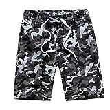 techcity Boys Teens Swim Trunks, Quick Dry Surfing Beach Sports Running Swim Shorts with Drawstring 6T to 18/20 (14/16, Camo(Grey))