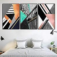 北欧スタイルの幾何学的抽象色塊壁アートプリント写真キャンバス絵画ポスターリビングルーム用-42x60cmx3個フレームなし