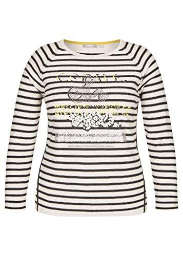 Rabe Damen Ringel-Pullover mit Front-Print und Glitzersteinen