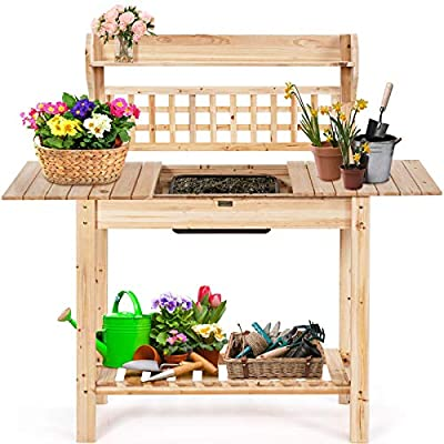 Giantex Garden Potting Bench, Outdoor Wood Work Table w/Sliding Tabletop, Planter Bench Work Station w/Removable Sink & Storage Shelves for Backyard Patio Balcony, Natural