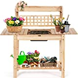 <span class='highlight'><span class='highlight'>COSTWAY</span></span> Garden Potting Table, Wooden Planting Bench with Trellis, Removable Sink, Sliding Tabletop and Shelves, Flower Plant DIY Workstation for Patios, Courtyards, Balcony