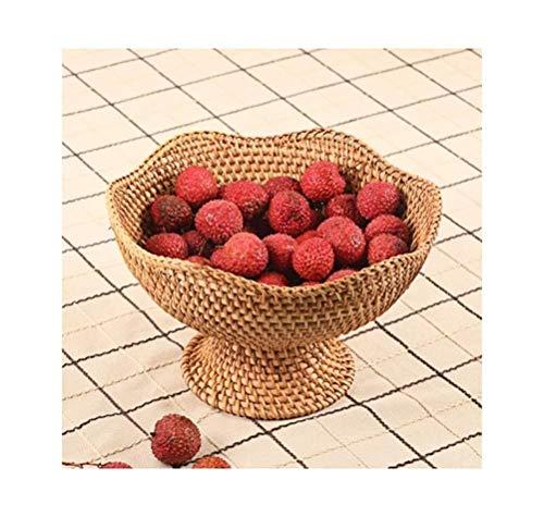 Cultura folclórica tazón retro cesta de fruta plato de fruta plato de fruta plato de postre plato de fruta creativo hecho a mano de ratán cultural popular (color: B)