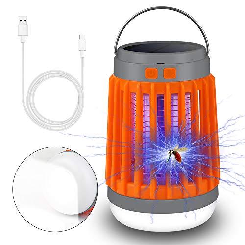 Insektenvernichter Camping, UV Licht Mückenkiller 2 in 1 Camping Lantern Wasserdicht Tragbar Solar und USB Wiederaufladbar für Angeln, Wandern