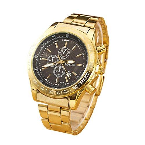Yogogo Herren Quartz Analog Armbanduhr, 1 Cent Artikel Uhr | Legierungsband | Dekoration | Geschenk | Edelstahlgehäuse | Quarzwerk | 1.9cm Bandbreite | 24cm Bandlänge (Schwarz)