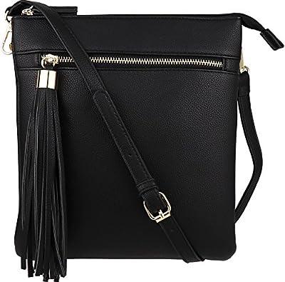 B BRENTANO Vegan Double-Zip Pocket Crossbody Handbag Purse wih Big Tassel Accent