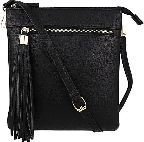 B BRENTANO Vegan Double-Zip Pocket Crossbody Handbag Purse wih Big Tassel Accent (Black)