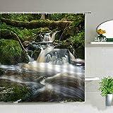 Cortinas de ducha de paisajes naturales con cascada, bosque, paisaje, decoración de baño, impermeable, poliéster, juego de cortinas de baño -180 x 200 cm