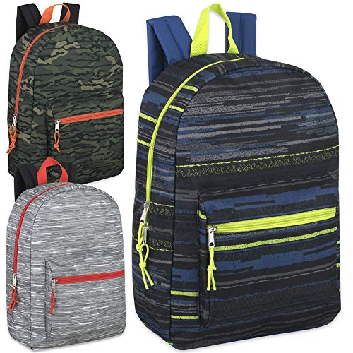 24 Pack of Wholesale 17 Inch Printed Bulk Backpacks For Kids - Boys and Girls Bulk Wholesale Backpacks (Boys 3 Color Assortment)