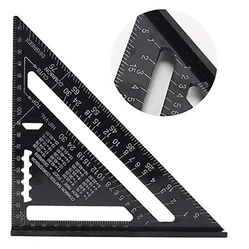 ManLee 7 Pulgadas Regla de Triángulo Aleación de Aluminio Forma de Triángulo Regla Métrico/Imperial Alta Precisión para Ingeniero Carpintero Bricolador Carpinteria