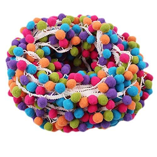 Yalulu 5 Yards Mehrfarbig Pom Pom Pompom Hairball Ball Lace Spitze Quaste Trim Band für DIY Fertigkeit und Dekorieren Nähen Zubehörteil...