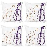 ABAKUHAUS Música Set de 4 Fundas para Cojín, Nota Musical Negro temático, Estampado Digital en Ambos Lados y Cremallera, 45 cm x 45 cm, Púrpura y Rojo