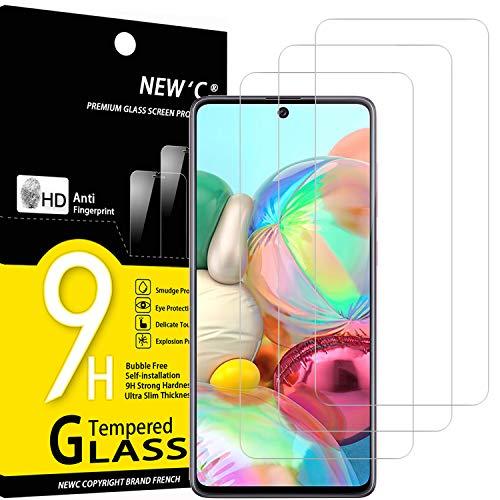 NEW'C 3 Unidades, Protector de Pantalla para Samsung Galaxy A71, Note 10 Lite, Antiarañazos, Antihuellas, Sin Burbujas, Dureza 9H, 0.33 mm Ultra Transparente, Vidrio Templado Ultra Resistente