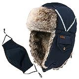 Comhats Unisex Trappermütze Fliegermütze mit Mundschutz warme Winter Bombermütze Schwarzblau