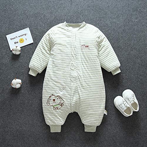 Unisex-baby-inbakerdekens, baby-gespleten beenkleurige katoenen gewatteerde slaapzak, anti-kick-quilt-groene bar_80 yards, baby-wikkeldeken anti-kick