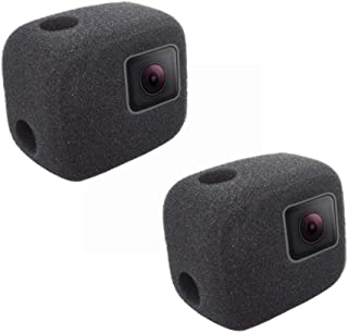 2er Pack Windschutz Gehäuse Rahmen Schutzhülle kompatibel mit GoPro Hero 5 6 7 Schwarz Outdoor Video Rauschunterdrückung