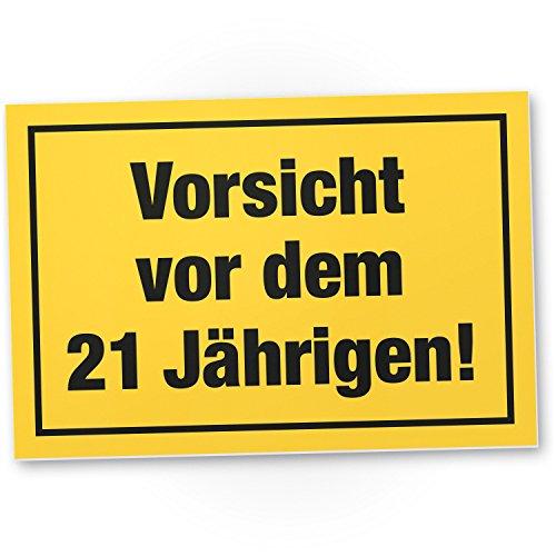 Bedankt! Wees voorzichtig voor het 21 jaar, plastic bord - cadeau 21e verjaardag mannen, cadeau-idee verjaardagscadeau eenwandig, verjaardagsdeco/partydecoratie/feestaccessoires/verjaardagskaart