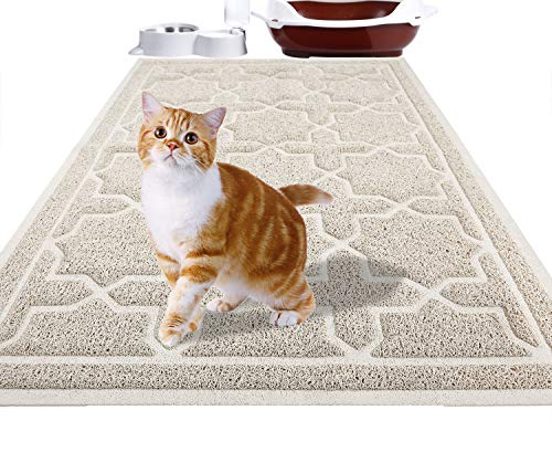 Yimobra Durable Cat Litter Mat, XL Jumbo 35.4 x 23.6 Inches, Easy Clean Cat Mats, Non-Slip, Water Resistant, Traps for Litter Boxes, Pet Litter Floor Mats, Soft, No Phthalate, Beige