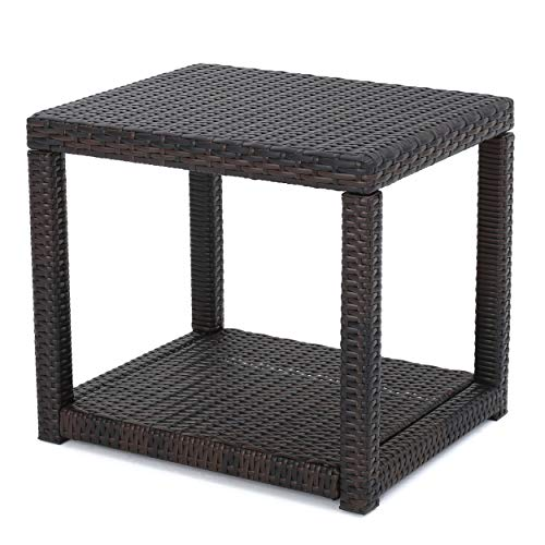 Boracay Outdoor Square Wicker Accent Table by Christopher Knight Home (Multi-Brown)