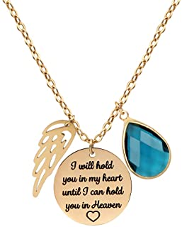 JSJOY Personalized Pendant Necklaces Memorial Gifts,I'll Hold You in My Heart Until I Can Hold You in Heaven,Memorial Necklace for Dad Mom and Loss of Spouse Sympathy Jewelry