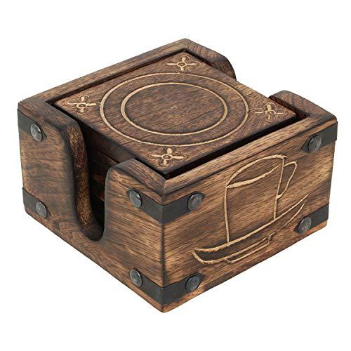 CE Hand Made Items 6 Untersetzer mit Halter,handgeschnitzt aus Holz, Optik verbranntes Holz