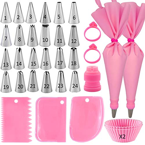 DAFONSO 33-Pieces Piping Bags and Tips Set, Cake Decorating Supplies Kit for Baking with 24 Icing Tips, Reusable Pastry Bags and Cake Scrapers, Baking Supplie Tools for Cookie Icing, Cake, Cupcake