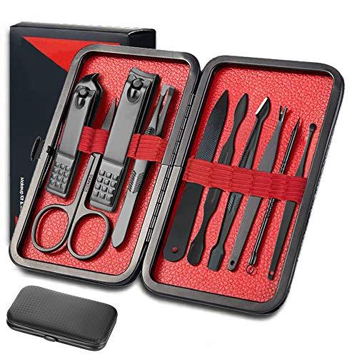 Kit de cuidado de uñas de herramienta de manicura y pedicura con eliminación de cutícula y cortador - Juego de manicura 10 en 1 hombre hombre profesional kit de uñas de acero inoxidable
