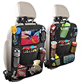 """OMING Automotive Seat Back Organizers Seat Back Protector Kick Mats for Kid Travel Accessories Car Backseat Organizer with 10"""" Table Holder 9 Storage Pockets Car Backseat Organizers"""