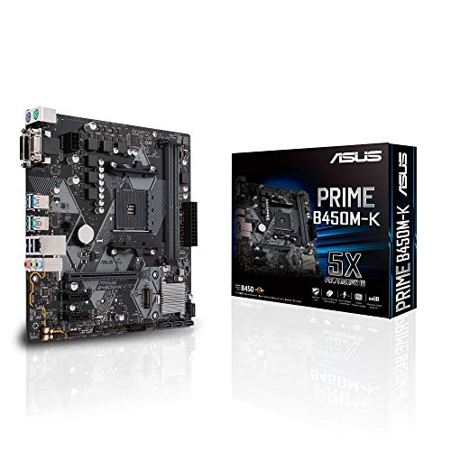 ASUS PRIME-B450M-K AMD AM4 mATX Motherboard with LED Lighting, DDR4 3200MHz, M.2, SATA 6Gbps and USB 3.1 Gen 2