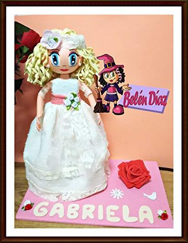 Fofucha Primera Comunión niña muñeca artesanal