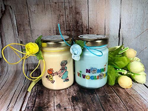 Vi voglio bene Nonni 2 vasetti con candele di cera di soia e oli essenziali Regalo per i Nonni Festa dei Nonni Regalo di Natale