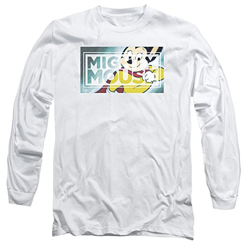 Mighty Mouse - T-shirt manches longues Puissant Rectangle Hommes, X-Large, White