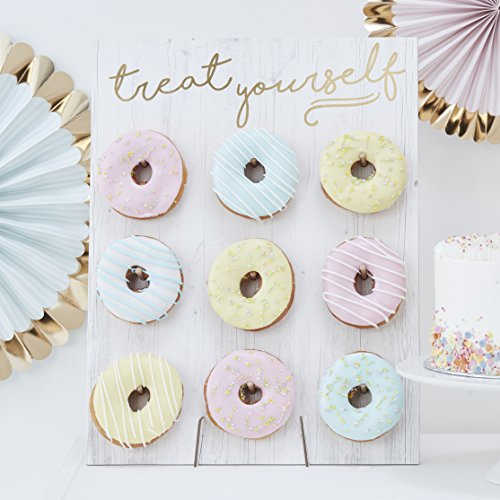 Ginger Ray Gold Foiled Treat Yourself Donut - Expositor de pared para 9 rosquillas, color blanco