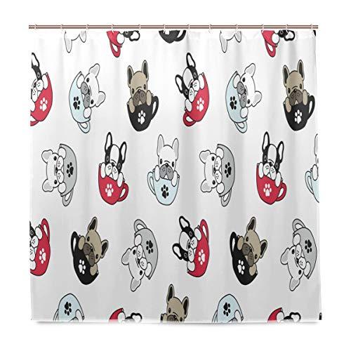 Wamika Französische Bulldogge Mops Badezimmer Duschvorhang, Innenausstattung, Cuppfoten-Welpen-Stoff, schimmelresistent, wasserfest, mit 12 Haken, 183,0 cm x 183,0 cm