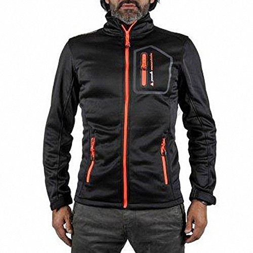 Peak Mountain - Blouson Polar Shell Homme CRISTOM - Noir/Orange - XXL