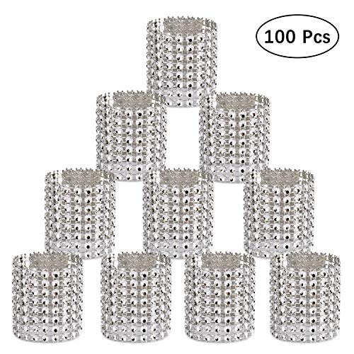 Carlie Napkin Rings Rhinestone Napkin Rings Adornment For Wedding Party (100 PCS, Silver)