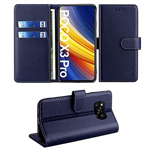 FMPC Hülle für Xiaomi Poco X3 Pro,Wallet Serie Handyhülle für Xiaomi Poco X3 NFC Premium Leder Etui Magnetisch Flip Schutzhülle Klapphülle Tasche 360 Grad Stoßfest Hülle Holster-Blau