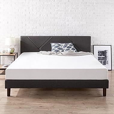 Zinus Upholstered Geometric Paneled Platform Bed with Wood Slat Support, King