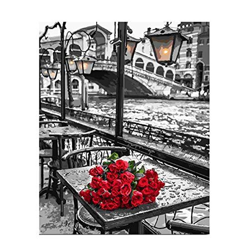 wuzhaodi Ölgemälde,Rose DIY Gemälde nach Zahlen Kits Acrylbild Handgemalte Ölgemälde auf Leinwand für Wandkunst Bild 24X31Inch (60X80cm) C.