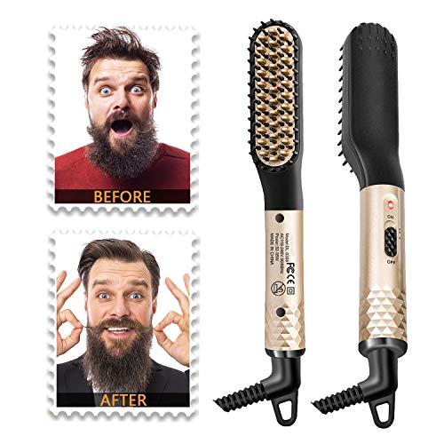 Beard Straightener for Men, Ionic Fast Heated Straightening Brush Hot Electric Mens Beard Comb Straightener w/ Storage Bag Portable Dual Voltage Anti-Scald Adjustable Temperatures